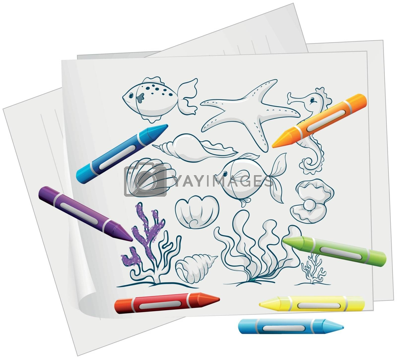 Illustration of the sea world in a piece of paper on a white background