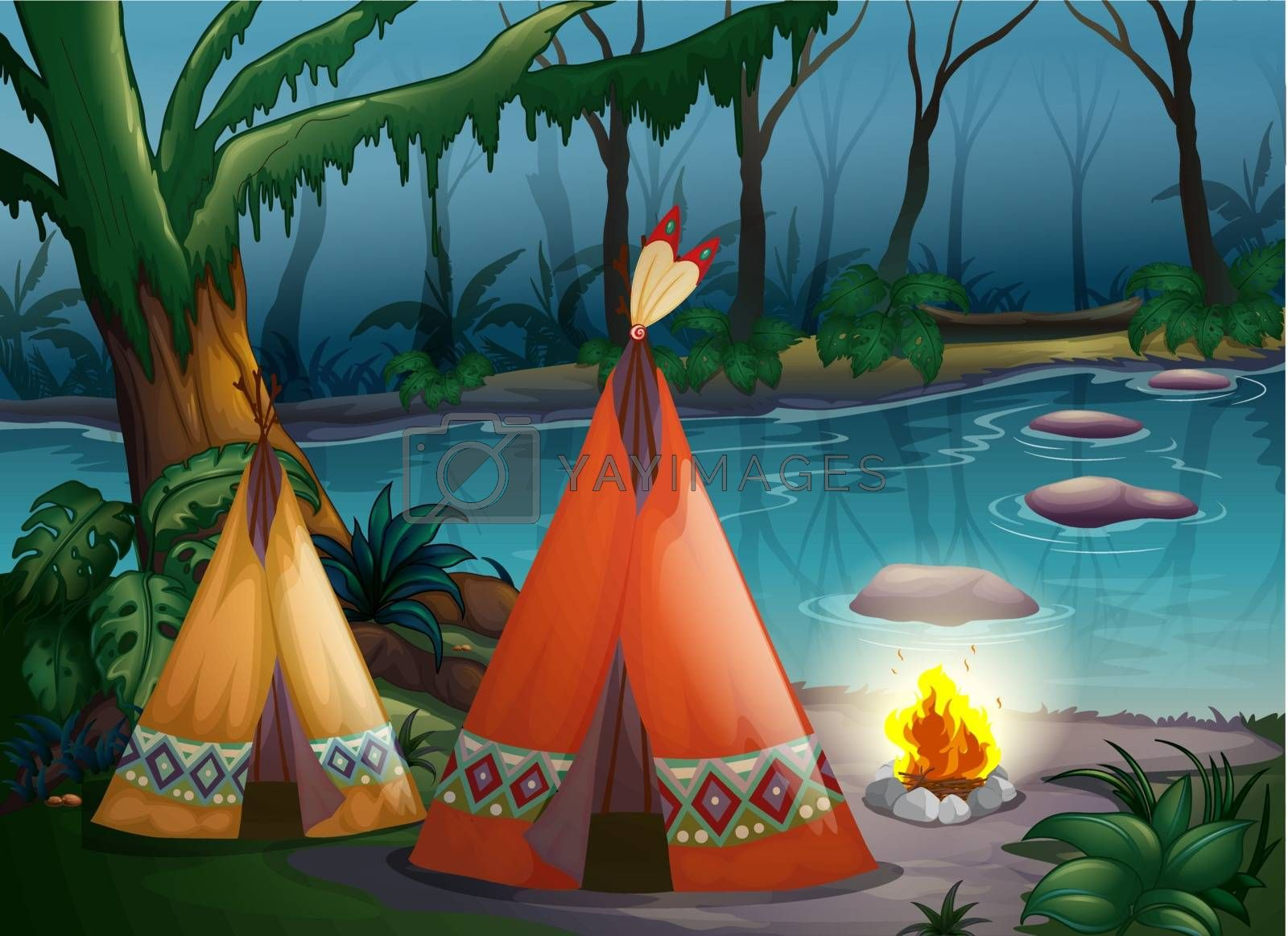 Illustration of traditional indian tents in the woods near a river