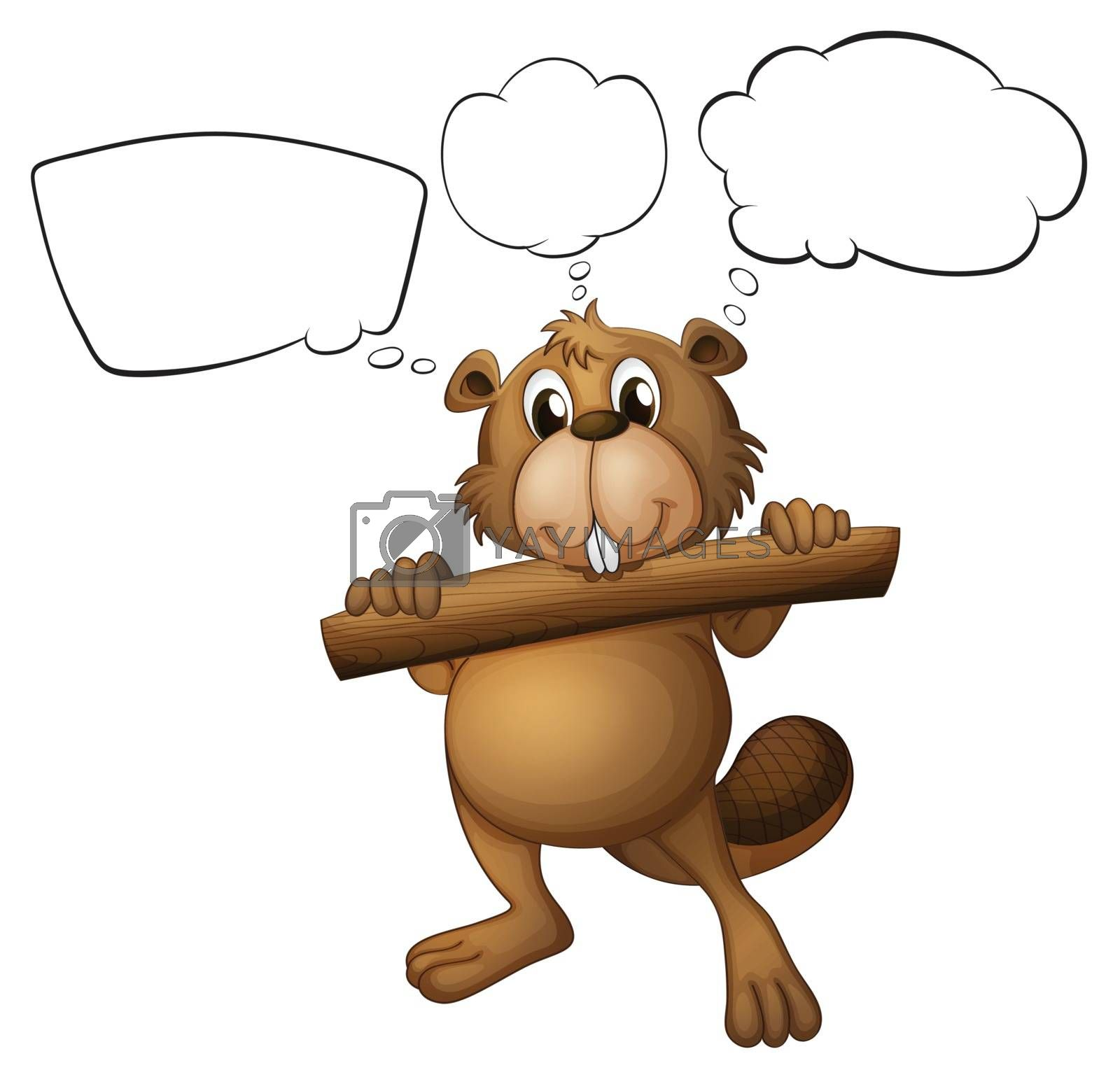 Illustration of a beaver holding a piece of wood with empty callouts on a white background