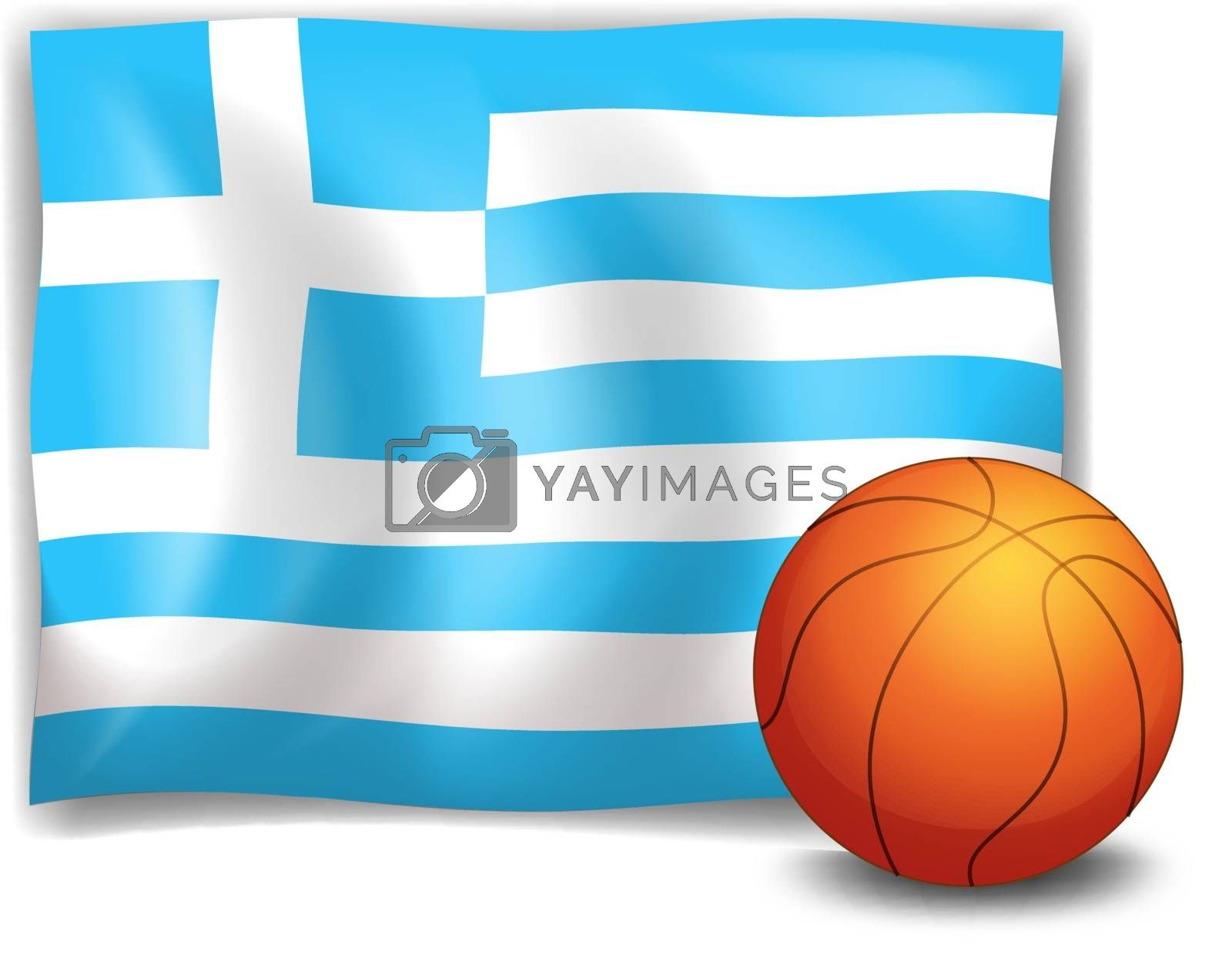 Illustration of the flag of Greece at the back of a ball on a white background
