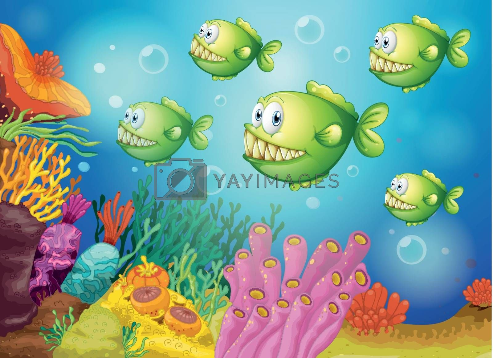 Illustration of a group of green piranhas under the sea