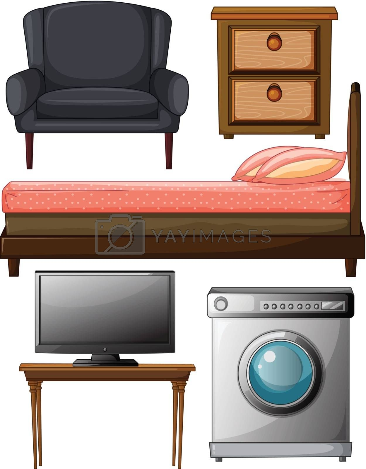 Illustration of useful furnitures on a white background