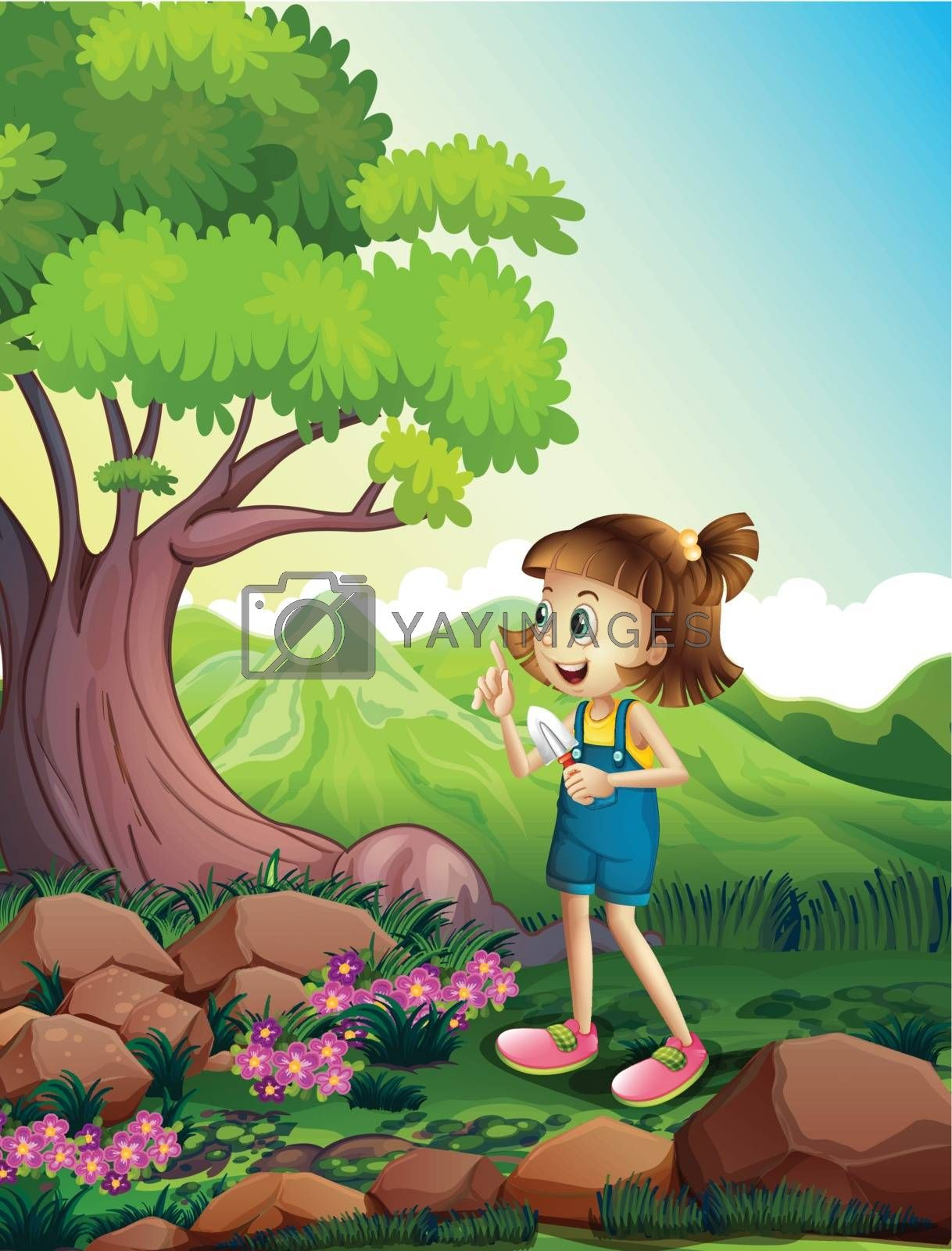 Illustration of a girl holding a shovel at the forest