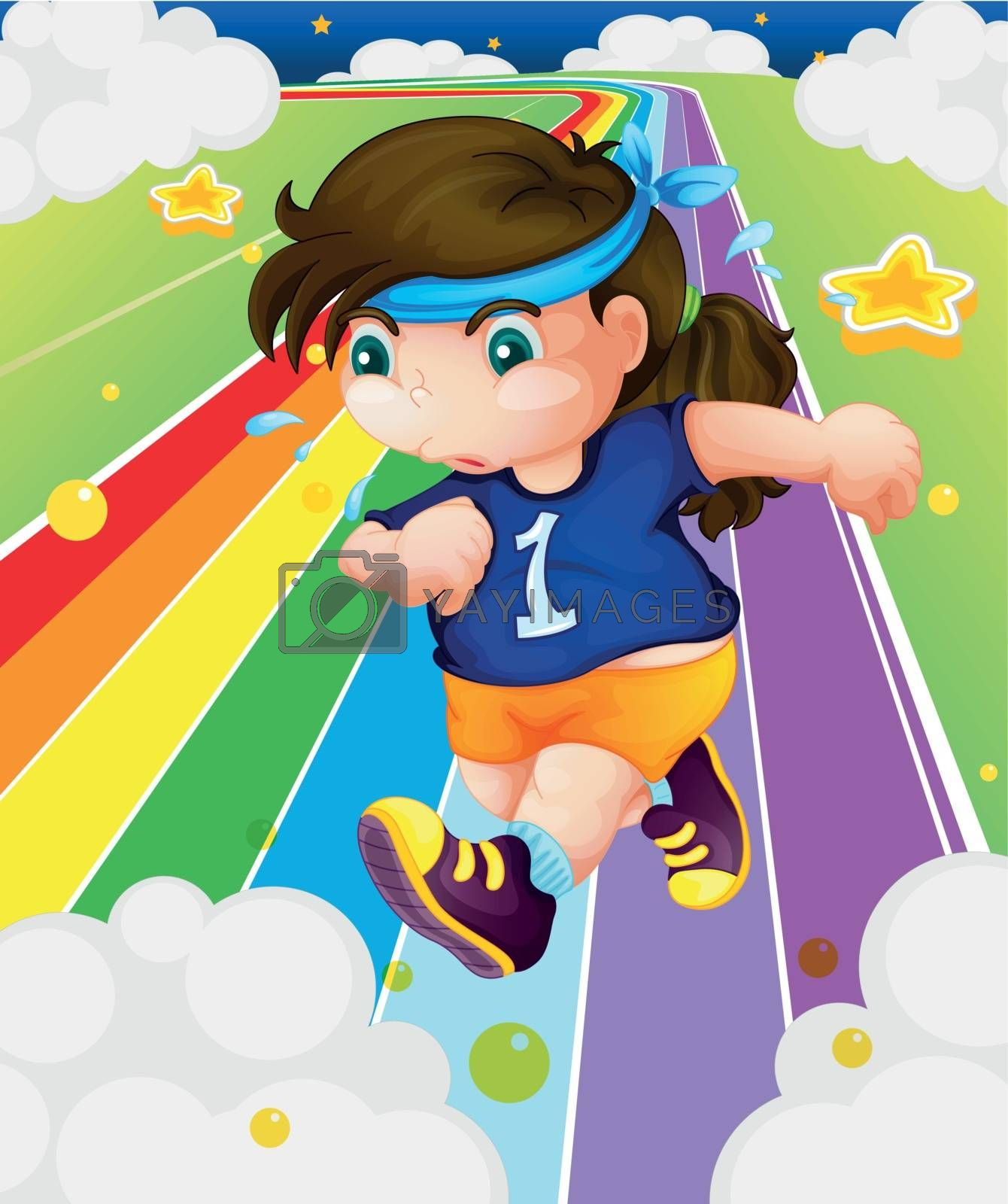Illustration of a fat girl running