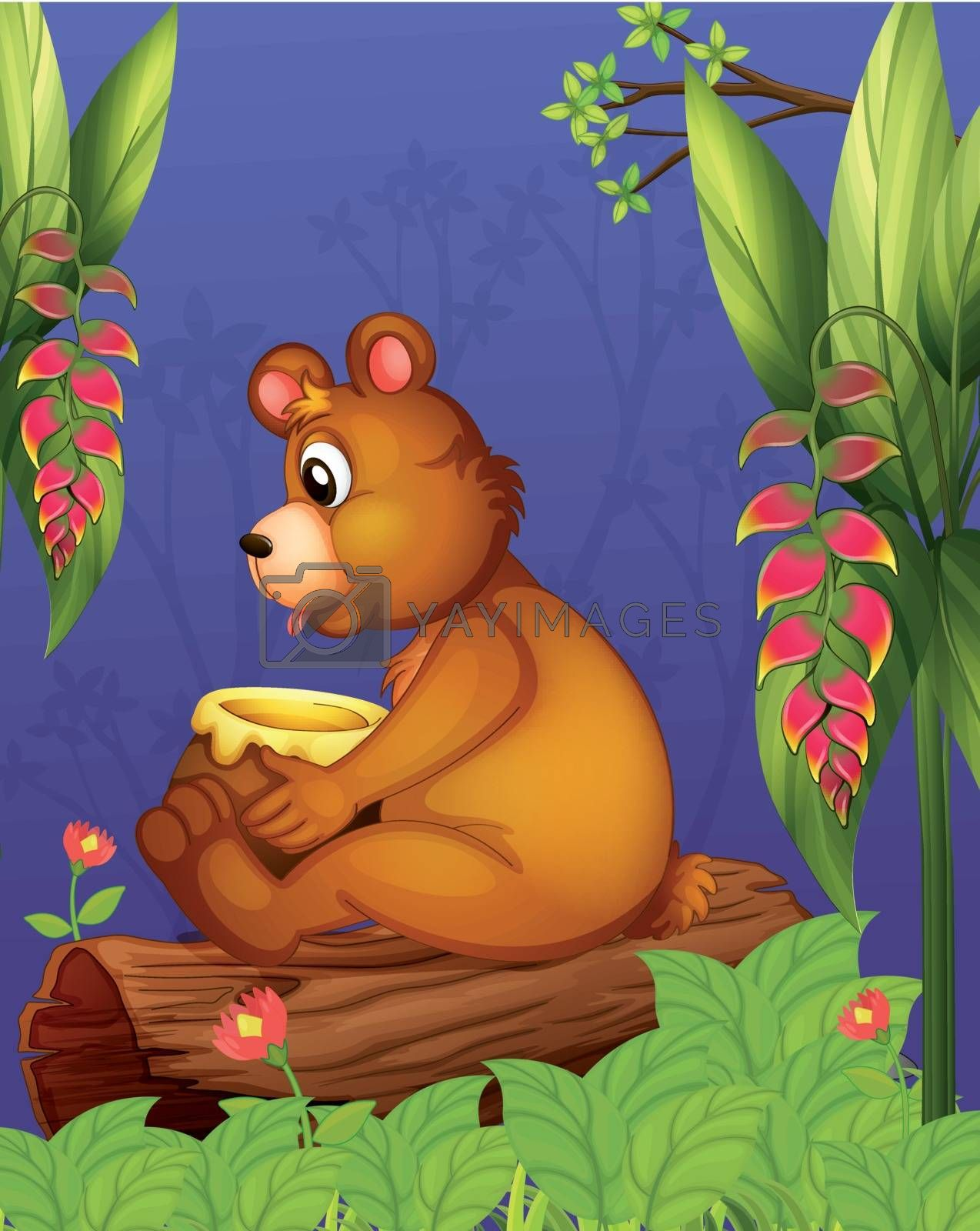 Illustration of a bear sitting in a wood