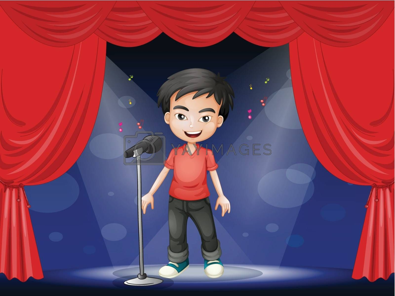 Illustration of a young man performing at the stage