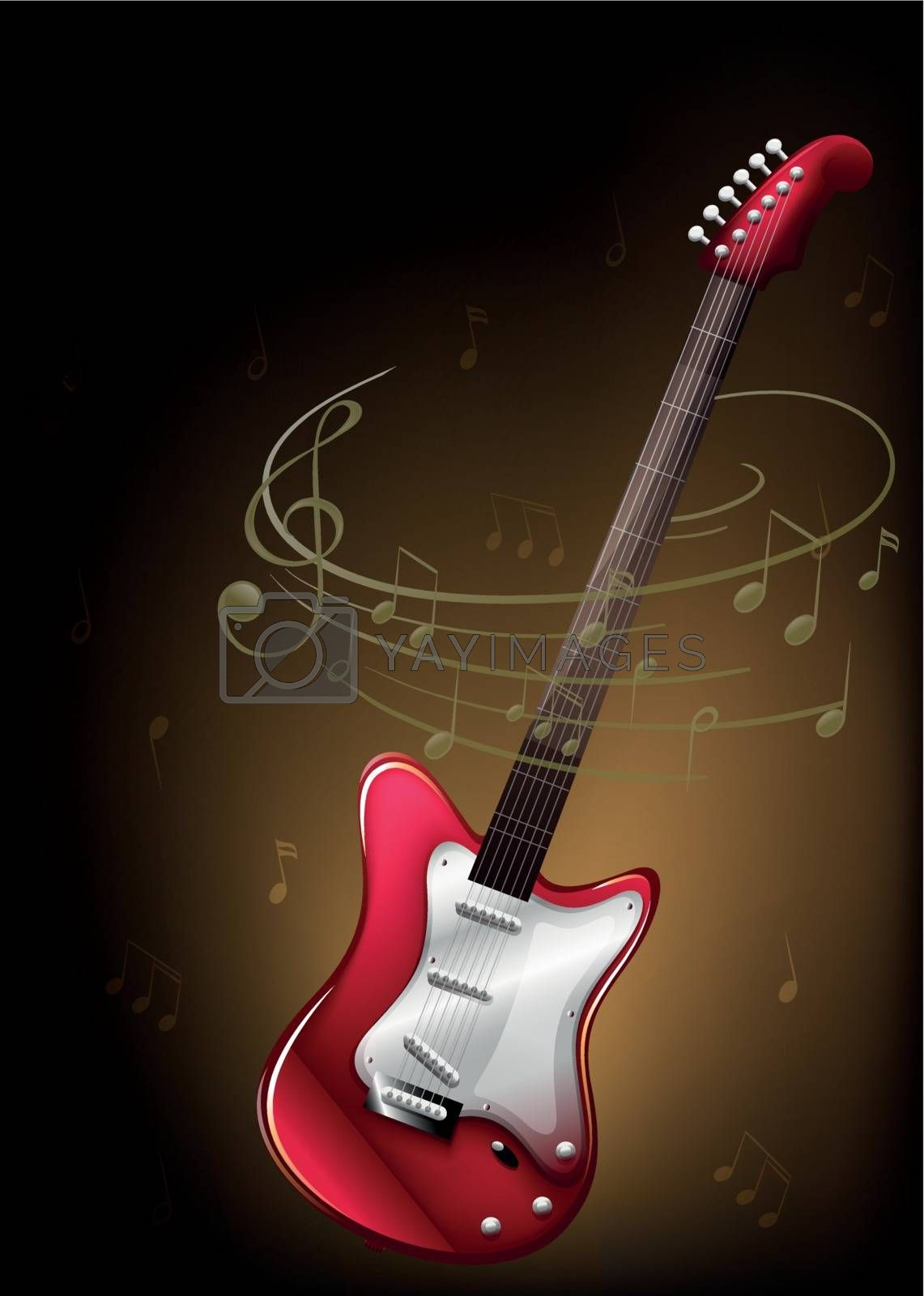 Illustration of a red guitar with musical notes