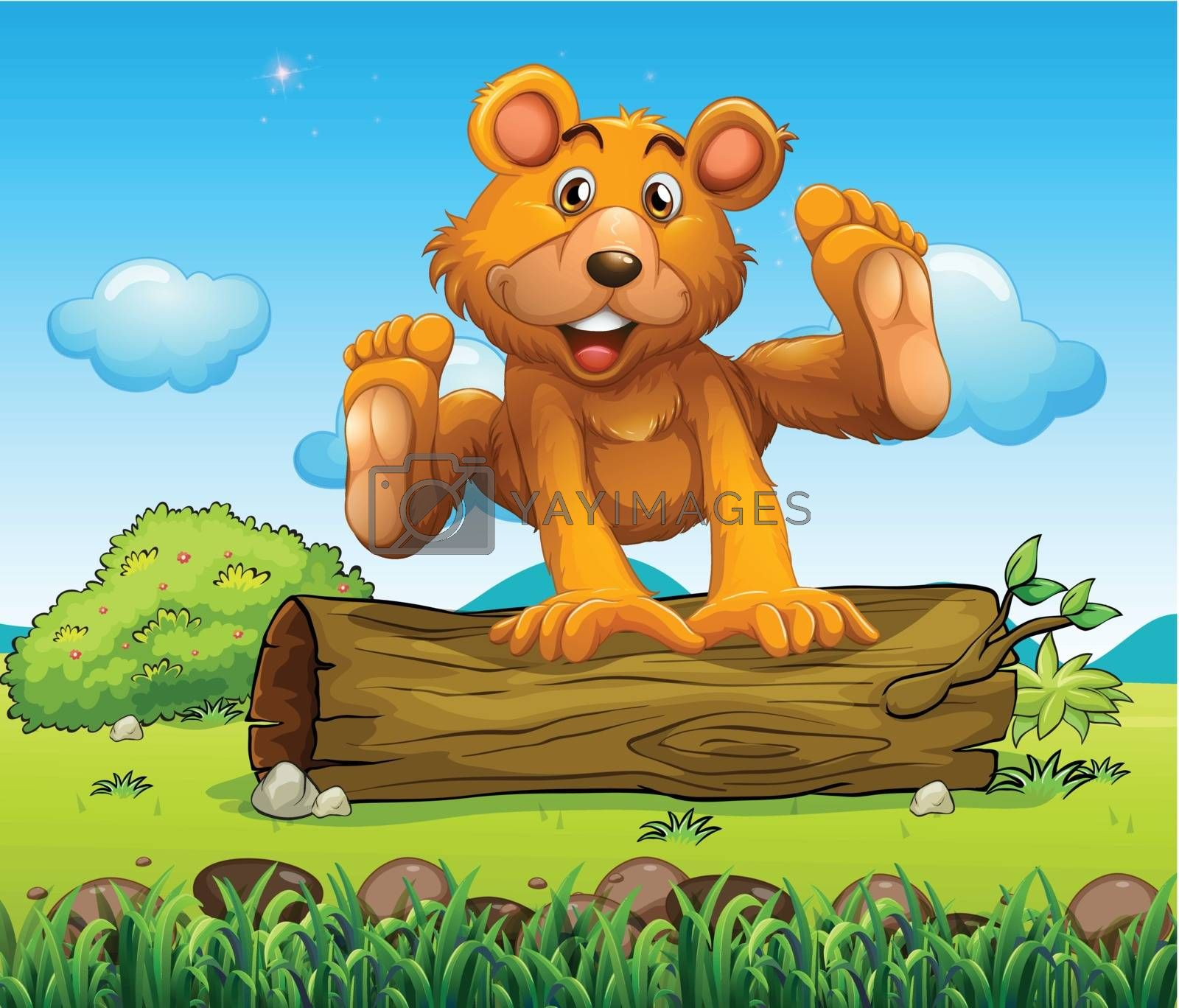 Illustration of a bear playing with the trunk outdoor