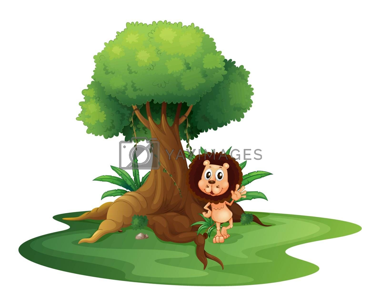 Illustration of a lion standing beside an old tree on a white background