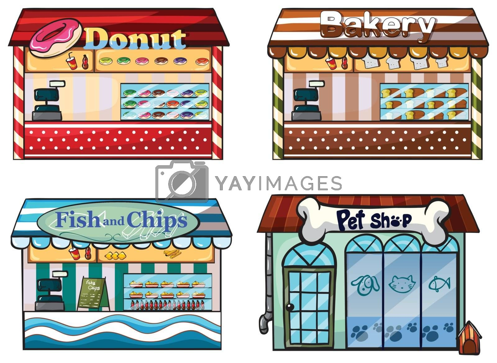 Illustration of a donut store, bakery, fish and chips store and a pet shop on a white background