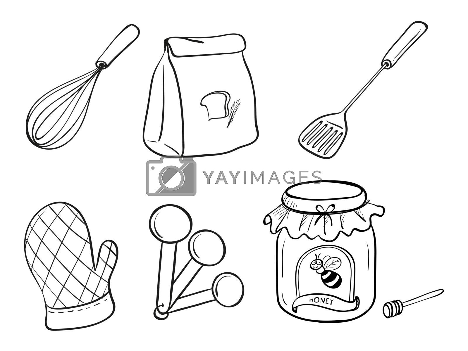 Illustration of a doodle set of kitchen utensils, baking powder and honey jam on a white background
