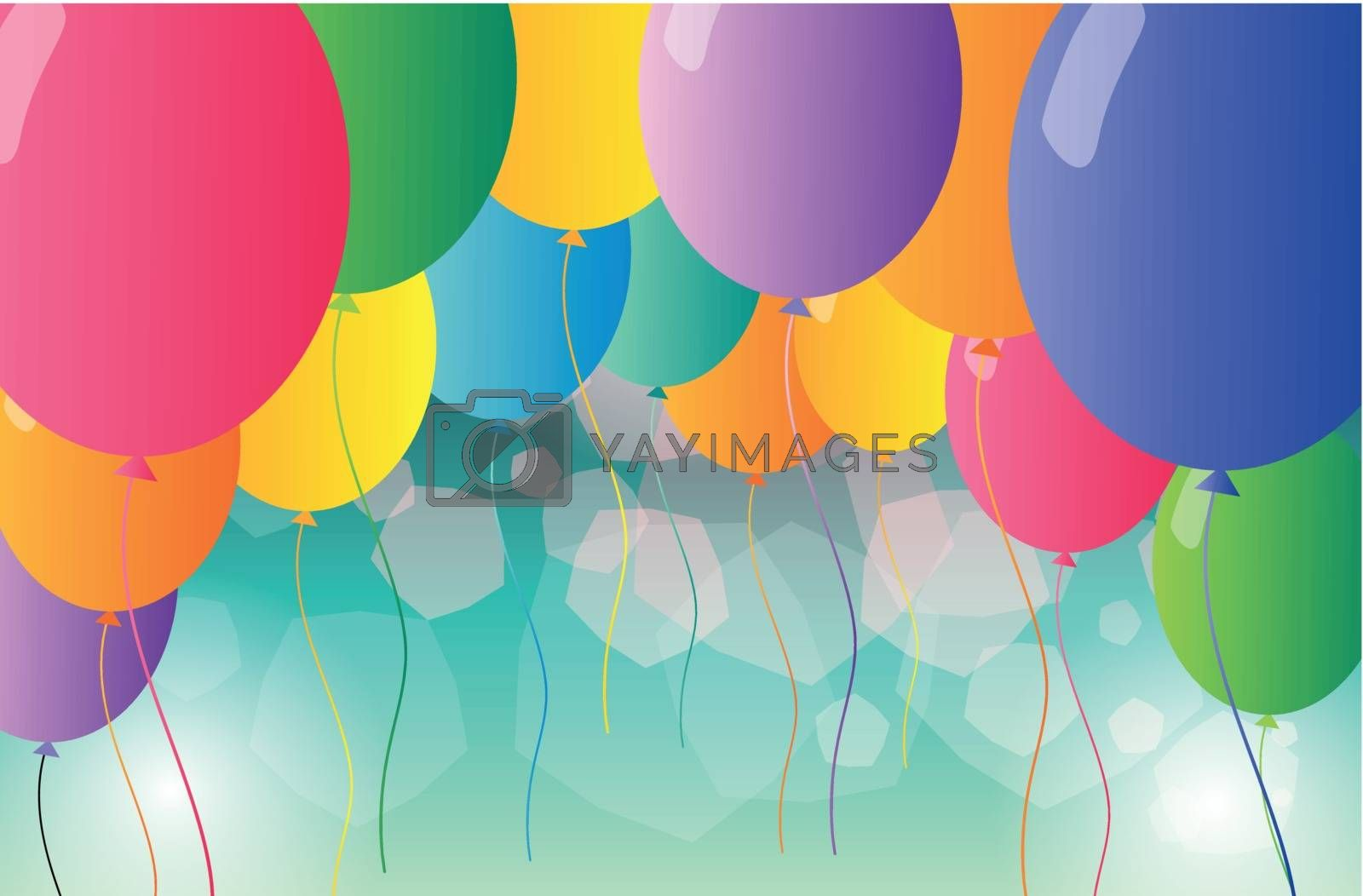 Illustration of a group of colorful balloons
