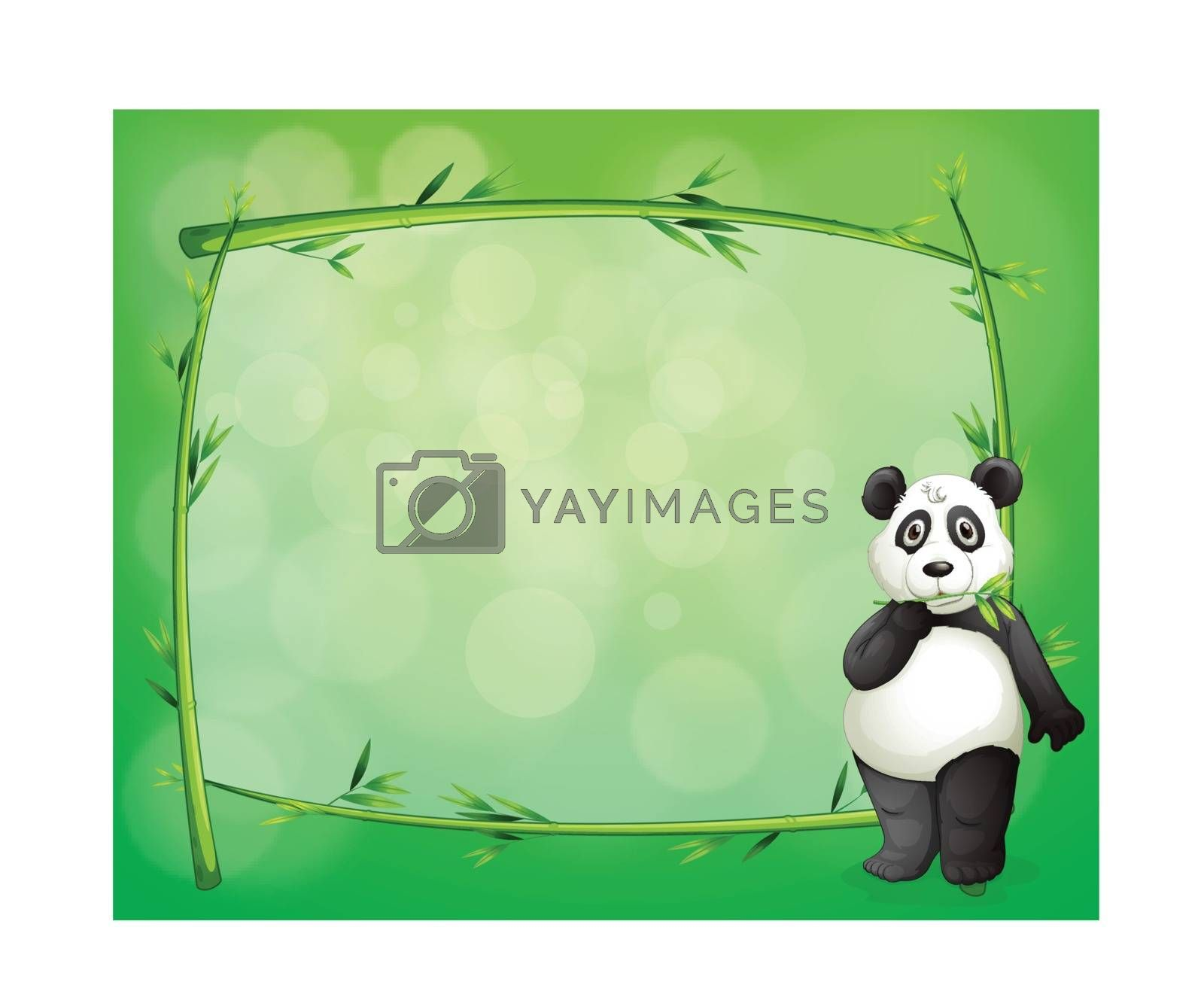 Illustration of a panda beside a frame made of bamboo