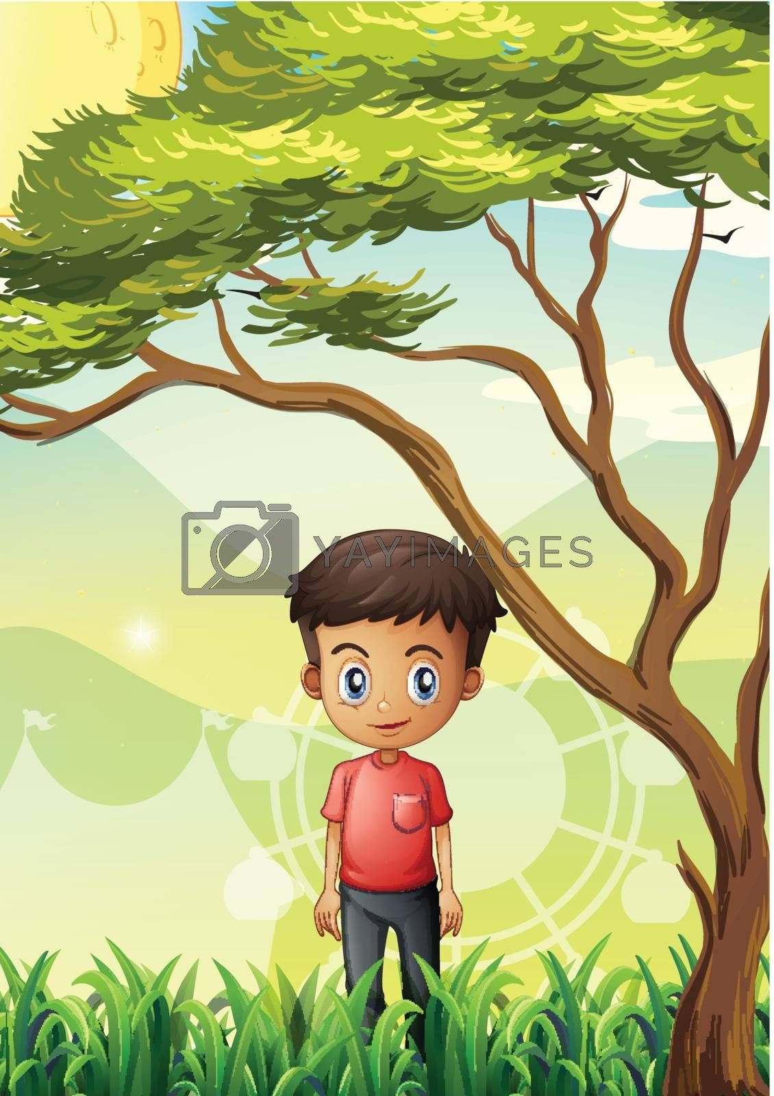 Illustration of a young man standing at the field near the giant tree
