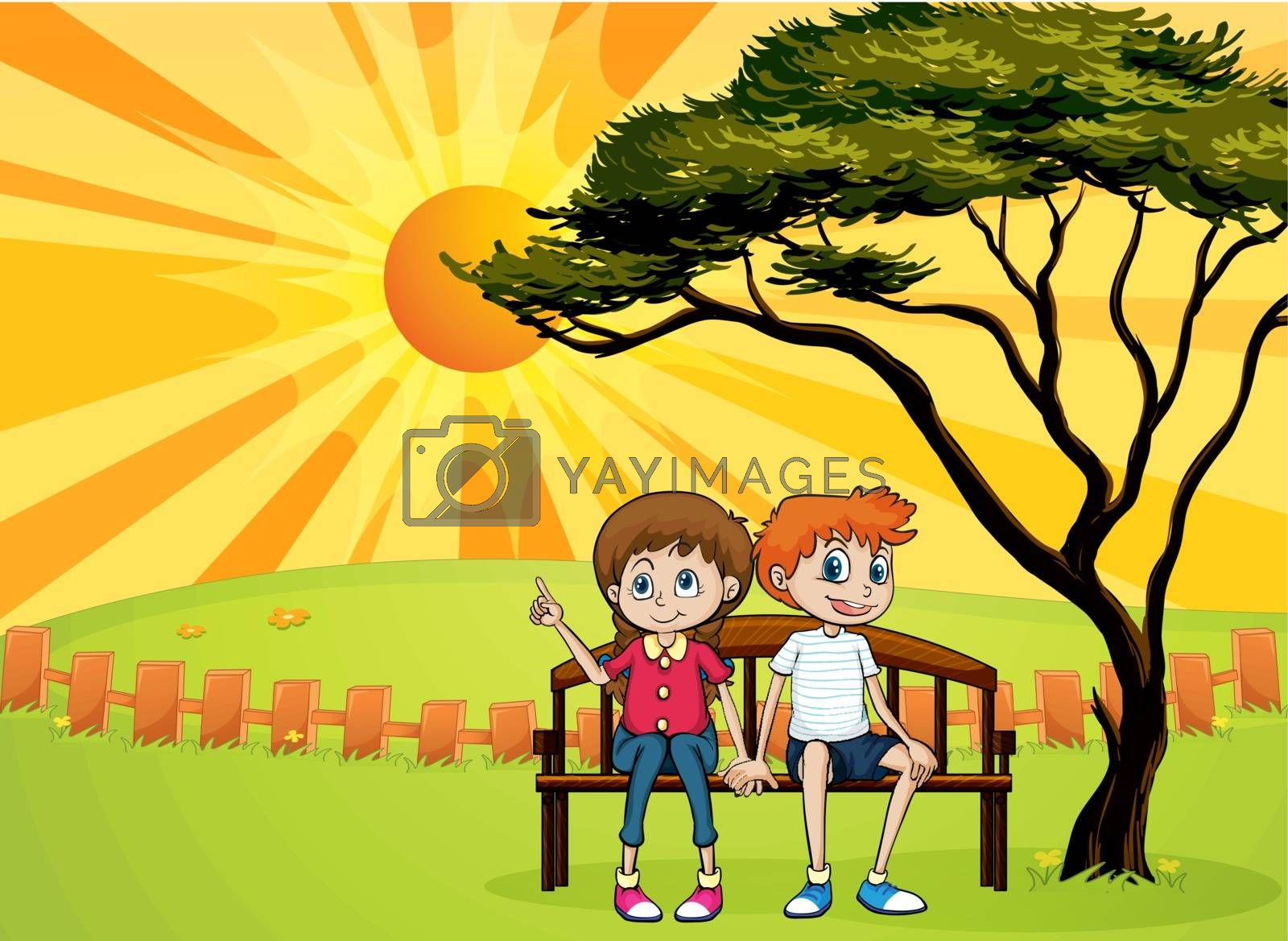Illustration of kids sitting on a bench and a beautiful landscape