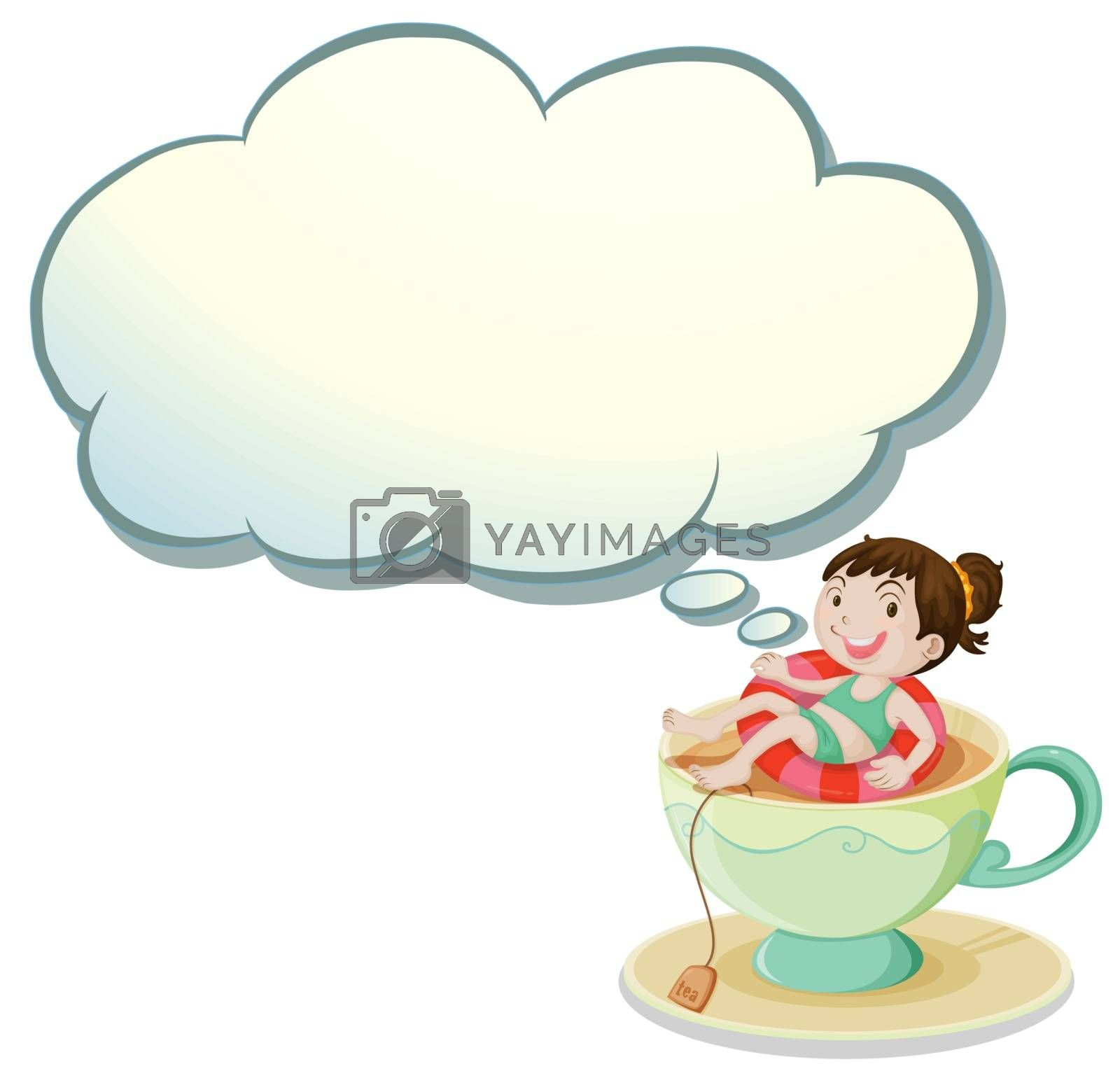 Royalty free image of A happy girl swimming above the cup with an empty cloud template by iimages