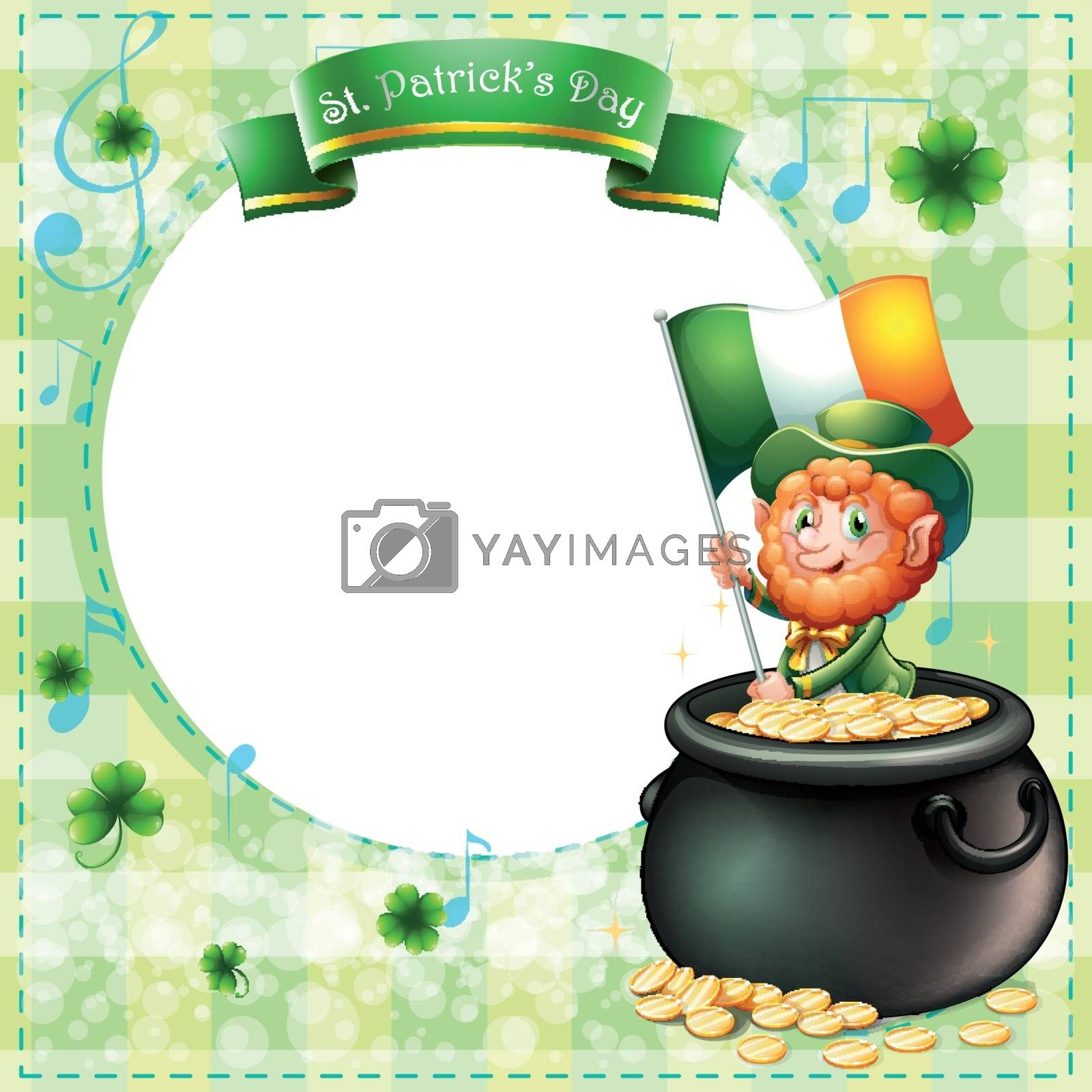 Royalty free image of A stationery for St. Patrick's day with an old man and a pot of  by iimages