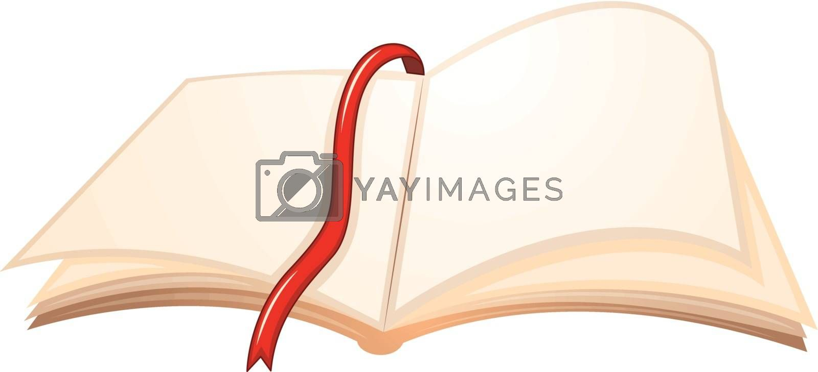 Illustration of an empty book with a red bookmark on a white background