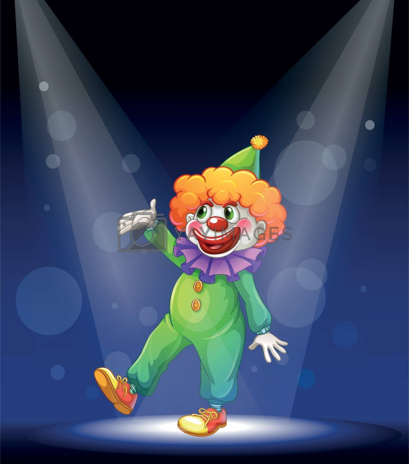 Illustration of a clown dancing at the stage
