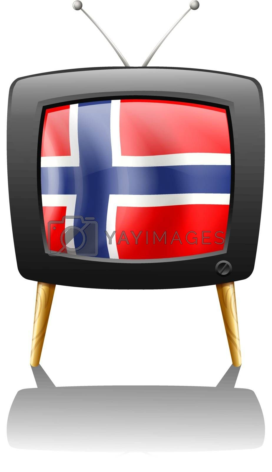 Illustration of the flag of Norway inside the TV on a white background
