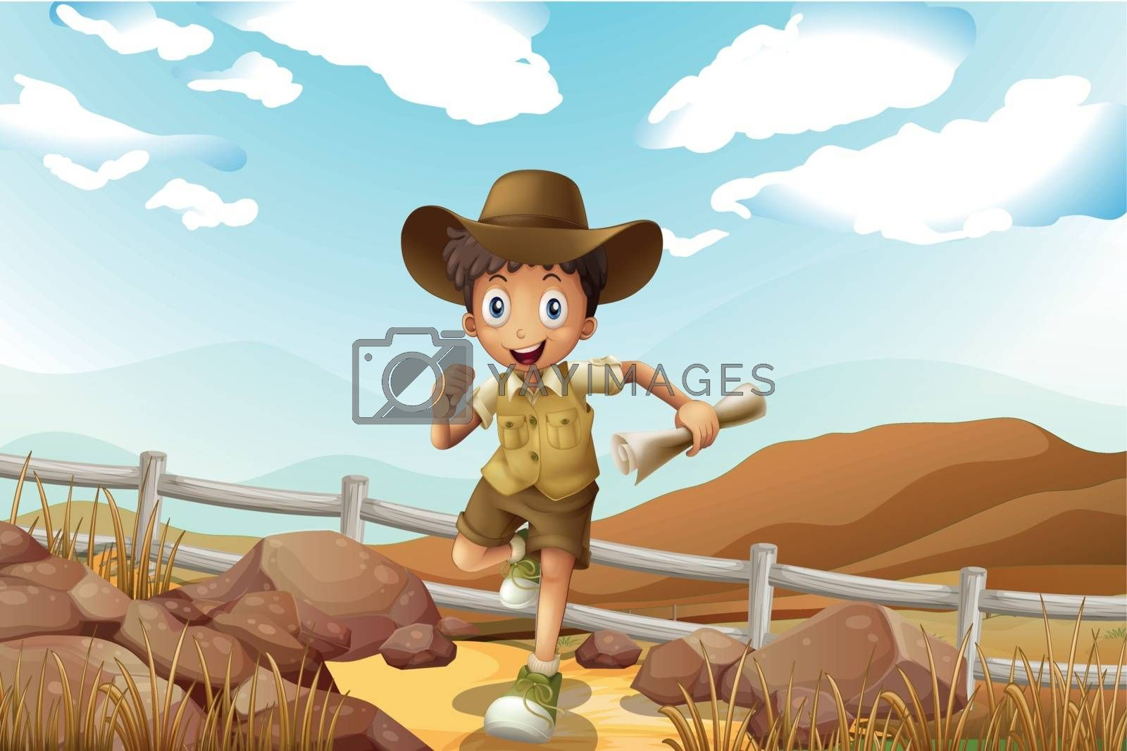 A young explorer running with a map in his hand by iimages