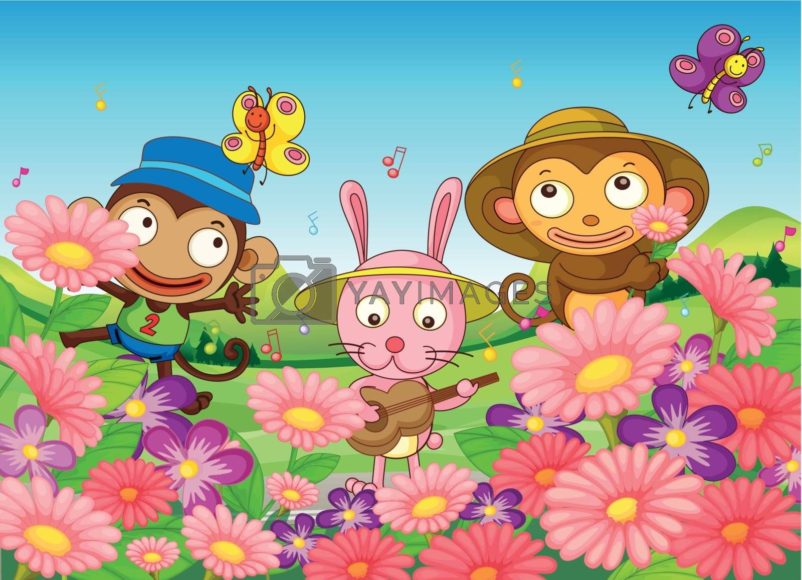 Illustration of the two monkeys and a bunny in the garden