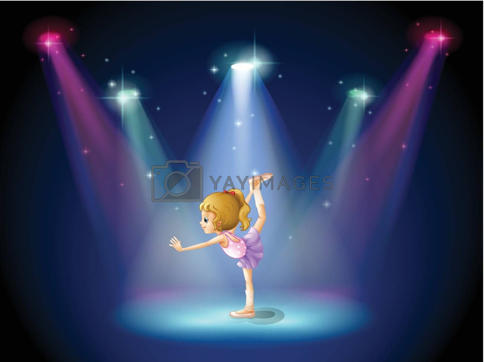 Royalty free image of A girl performing ballet on the stage with spotlights by iimages