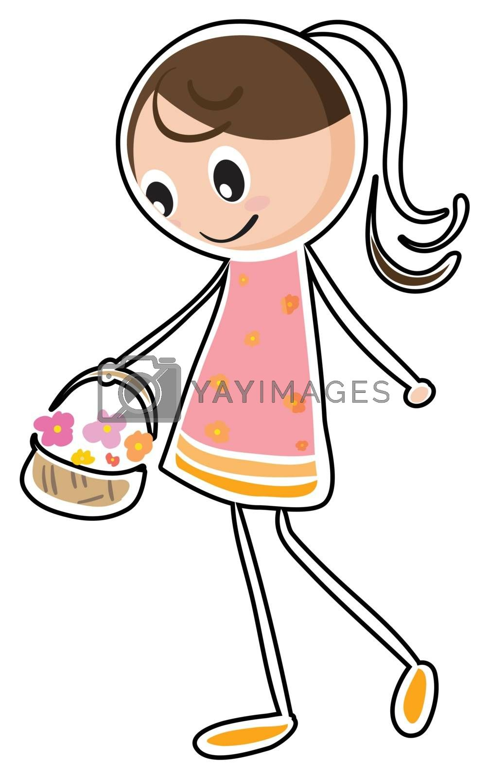 Illustration of a sketch of a girl holding a basket on a white background