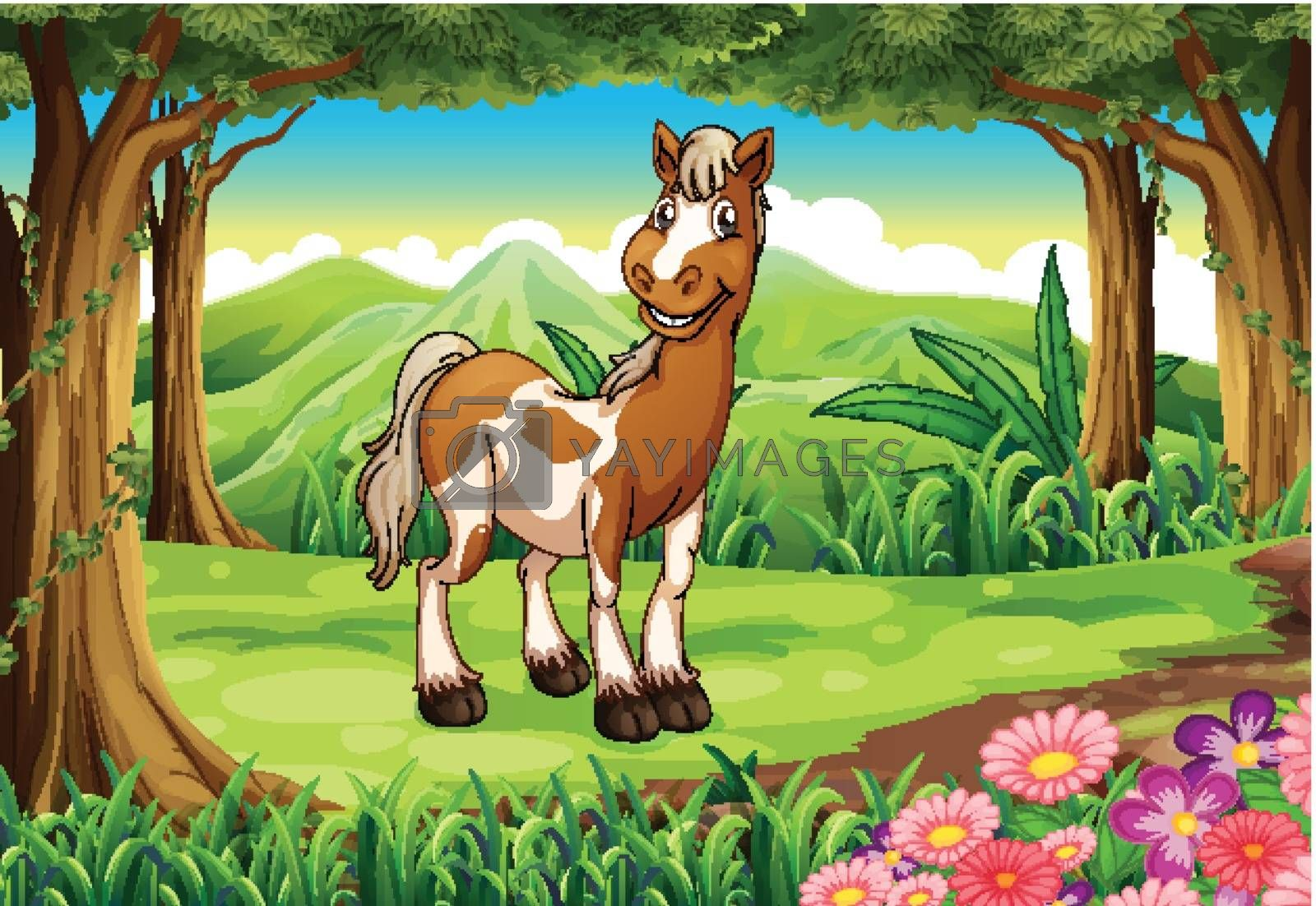 Illustration of a forest with a smiling horse