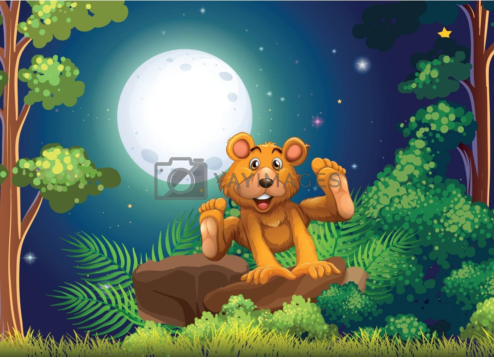 Royalty free image of A forest with an energetic bear by iimages