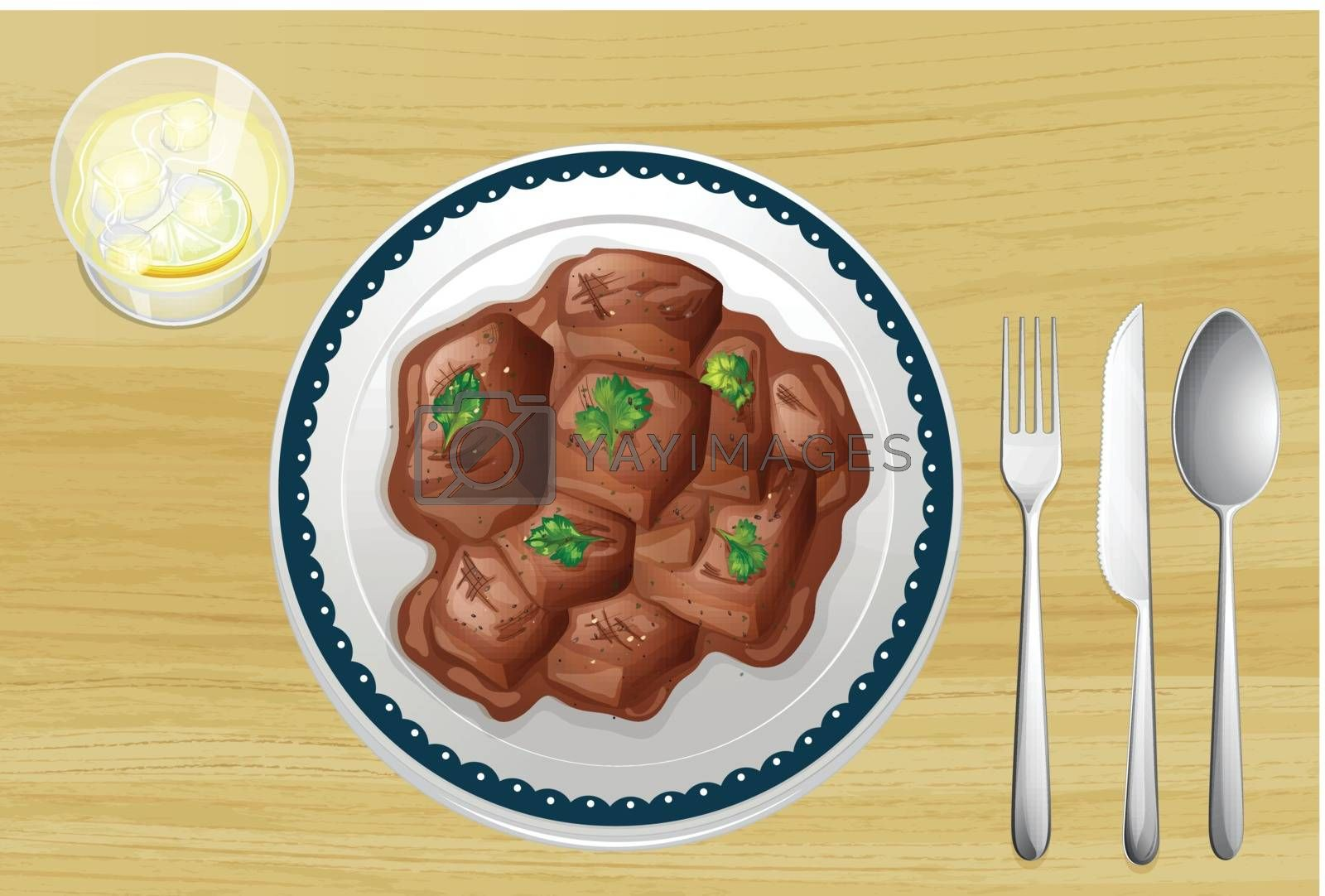 Pork dish on a wooden table by iimages