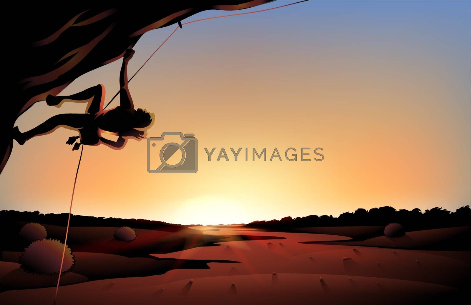 Illustration of the sunset view of the desert with a man climbing at the tree