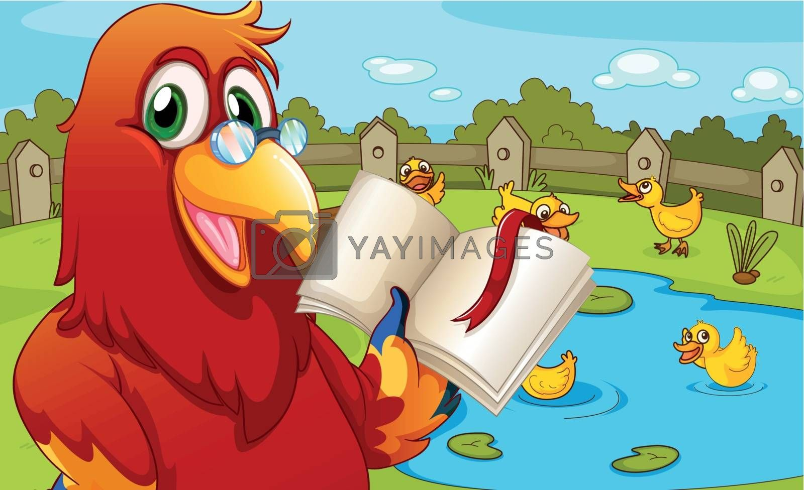 Royalty free image of A parrot near the pond showing an empty book by iimages