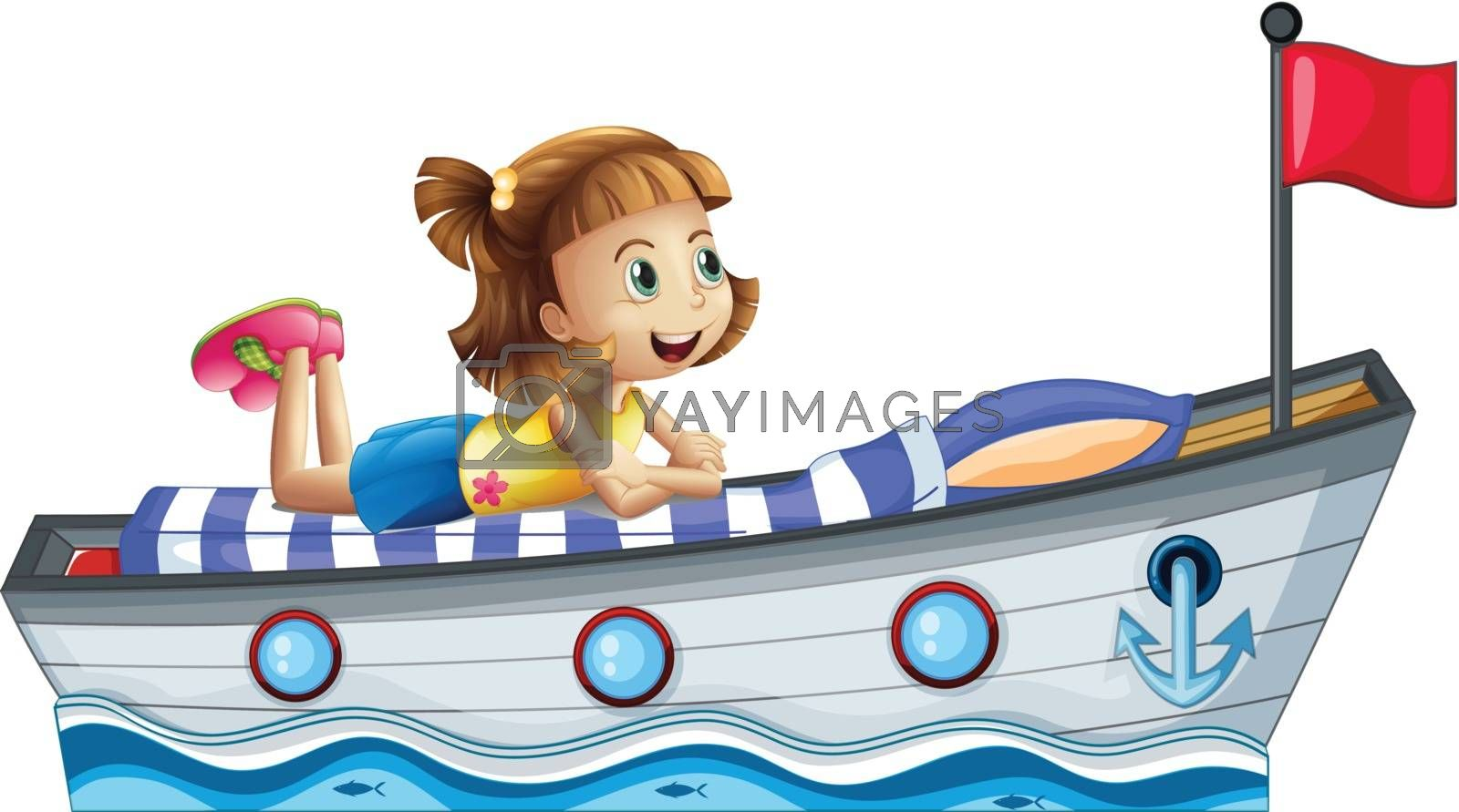 Royalty free image of A girl lying above the ship with a red flag by iimages