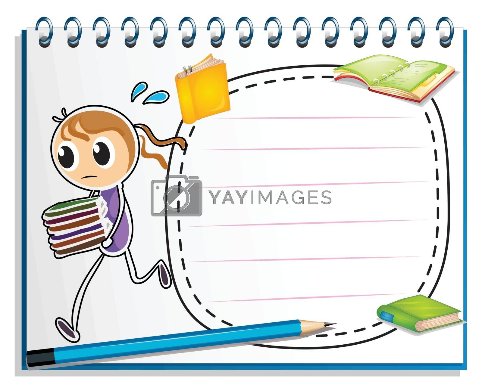Illustration of a notebook with a sketch of a girl running with books on a white background