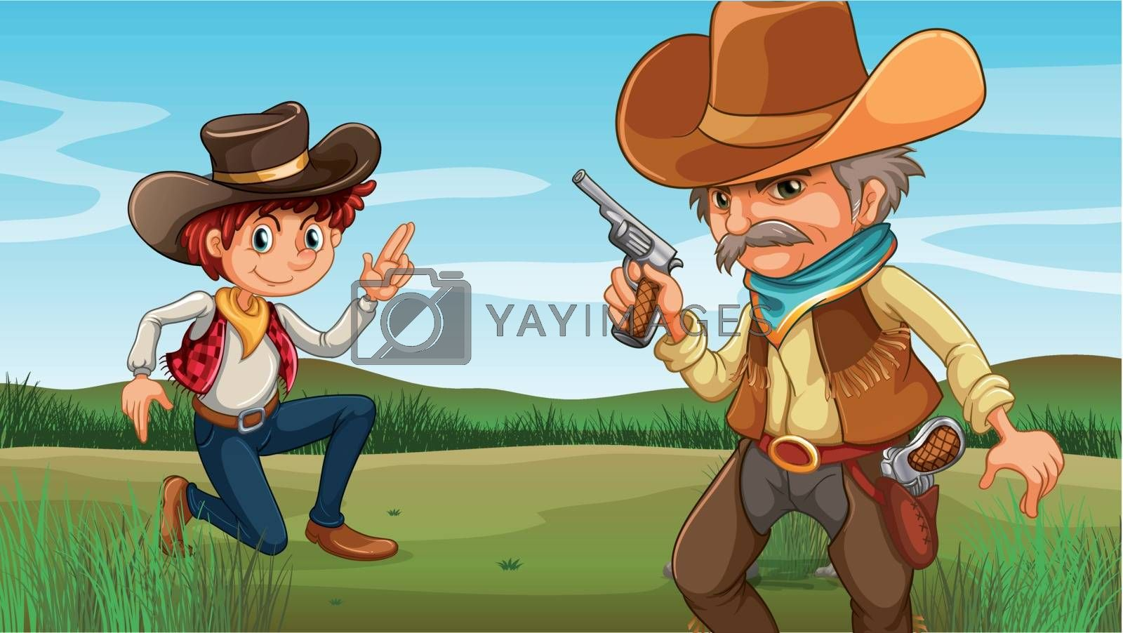 A young and an old cowboy at the hill by iimages