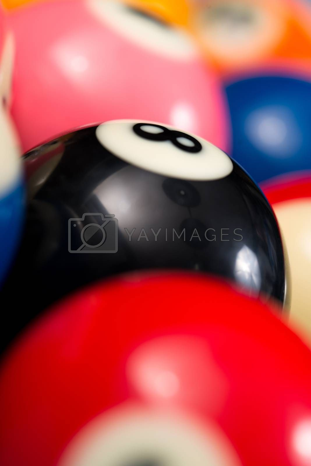 Close-Up Of Pool Balls On Blue Pool Table