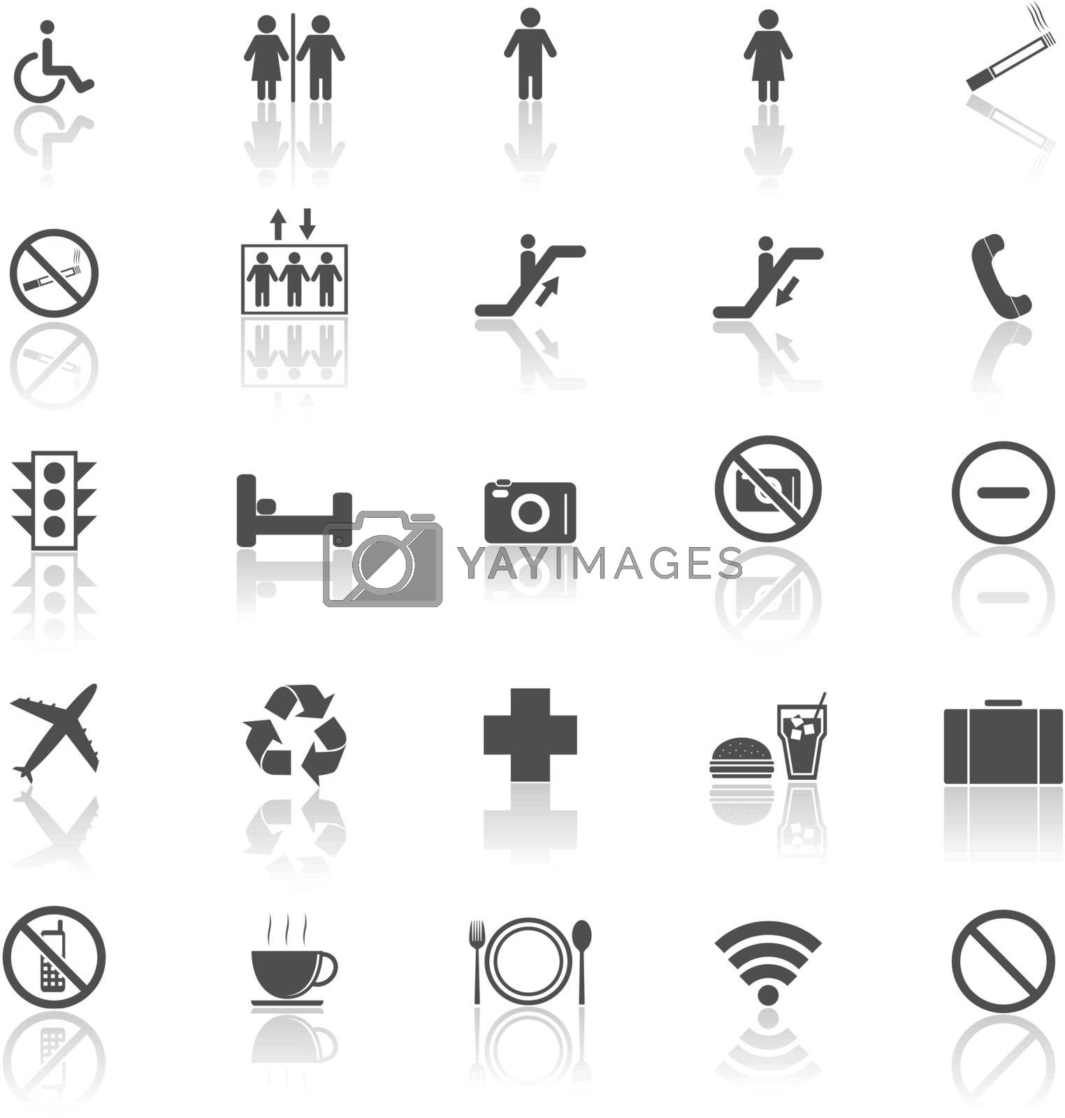 Plublic icons with reflect on white background, stock vector
