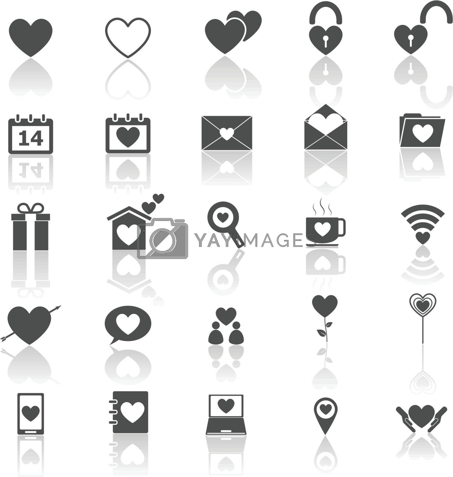 Love icons with reflect on white background, stock vector
