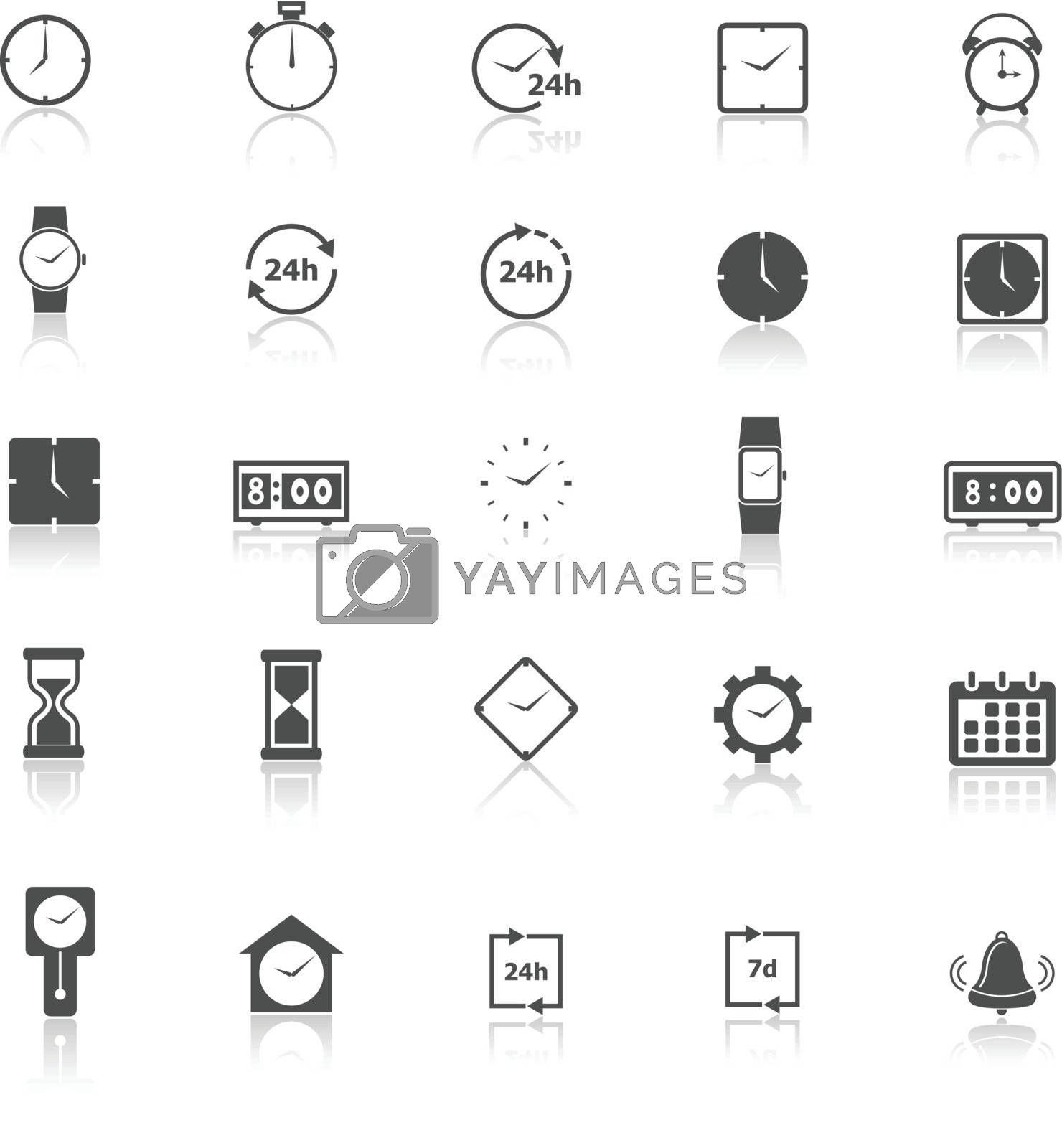 Time icons with reflect on white background, stock vector