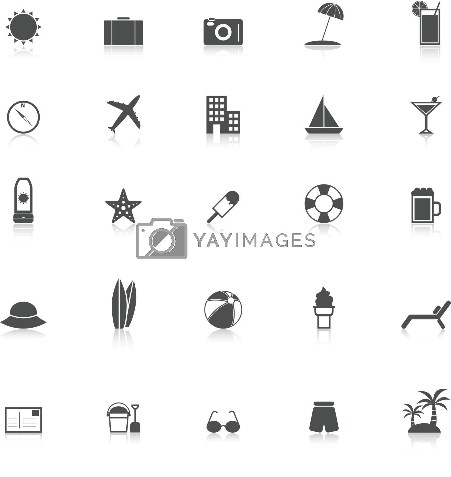 Summer icons with reflect on white background, stock vector