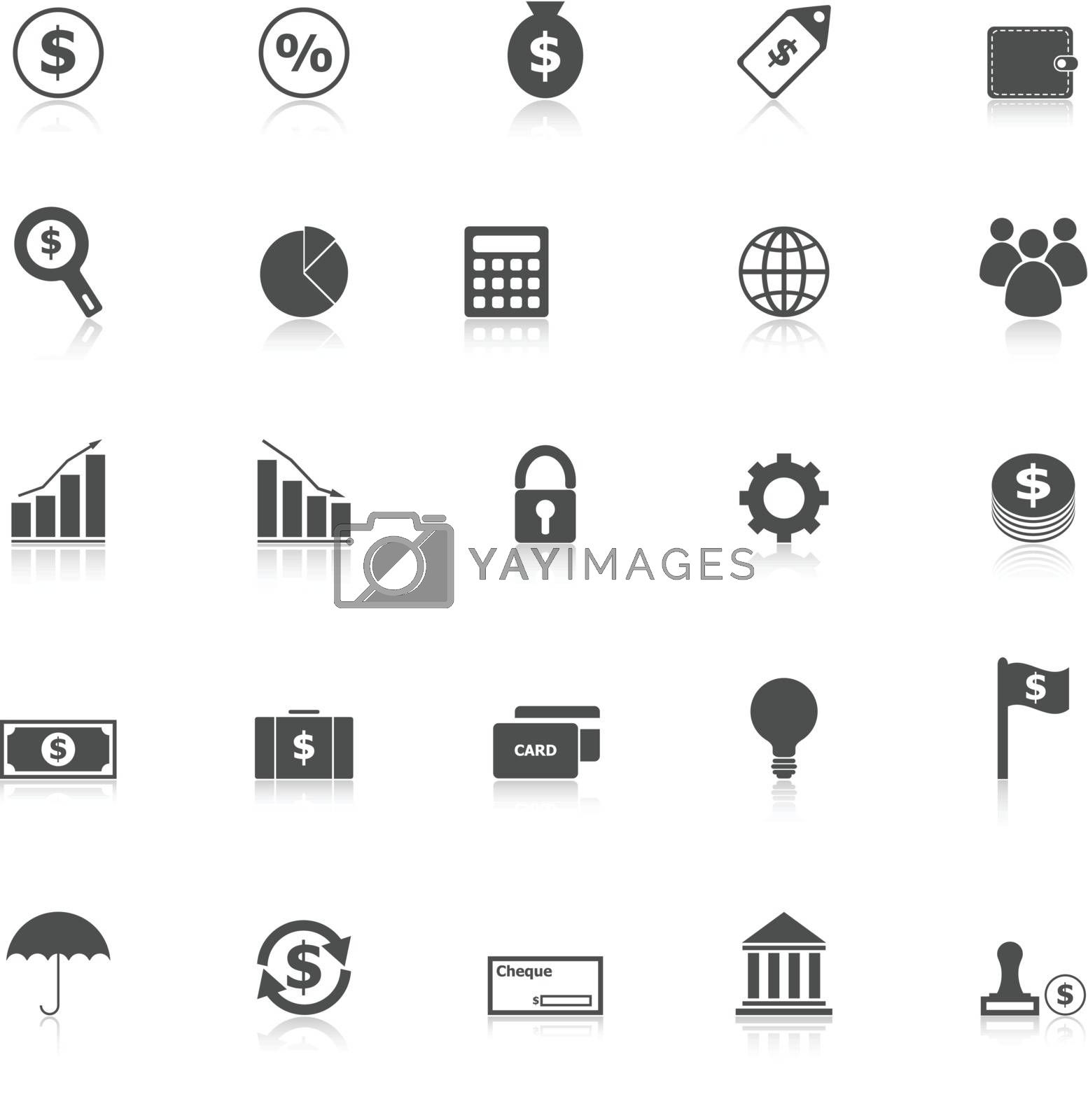 Finance icons with reflect on white background, stock vector