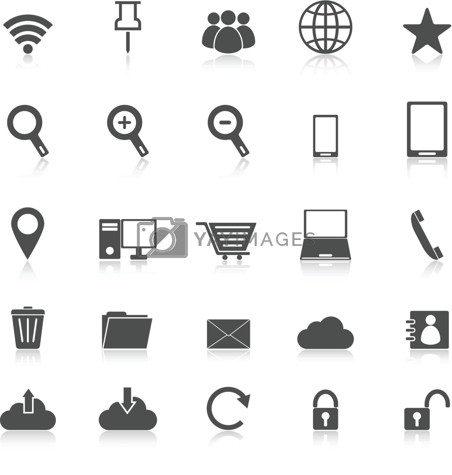 Internet icons with reflect on white background, stock vector