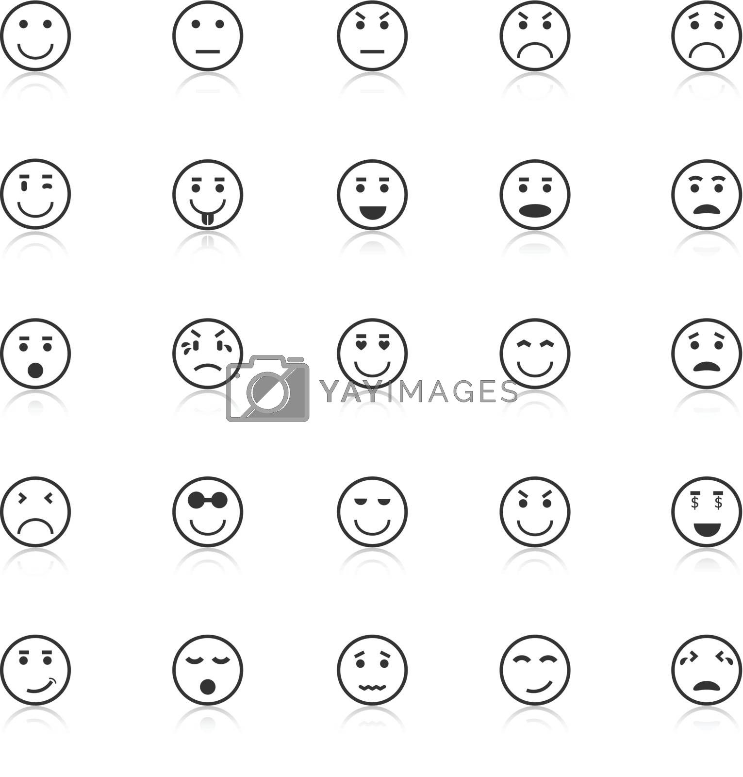 Circle face icons with reflect on white background, stock vector
