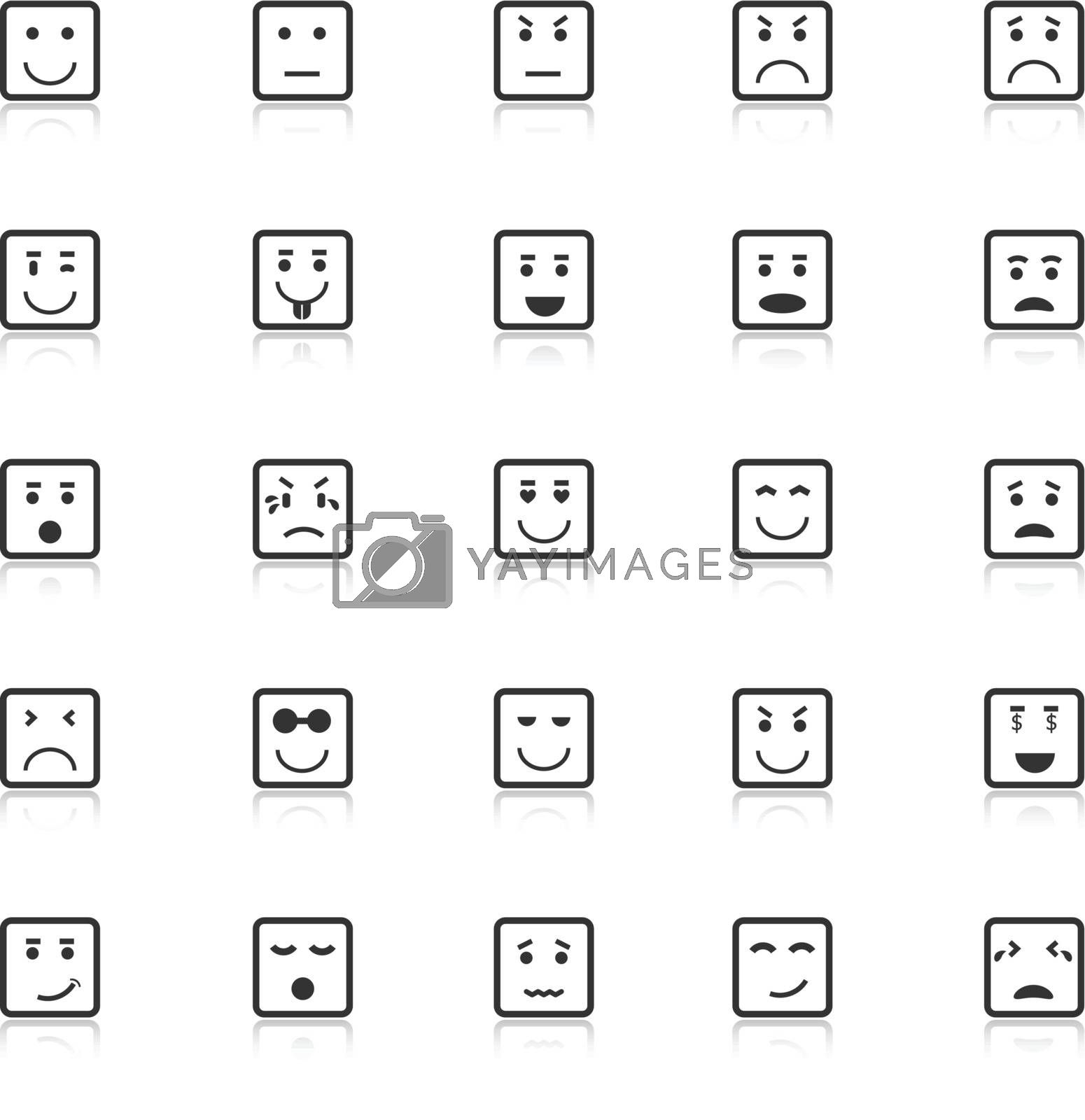 Square face icons with reflect on white background, stock vector