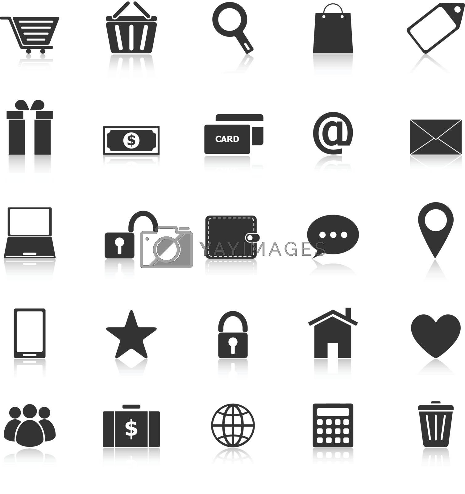 Ecommerce icons with reflect on white background, stock vector