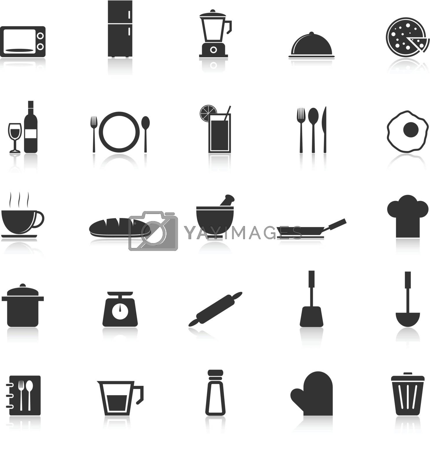 Kitchen icons with reflect on white background, stock vector