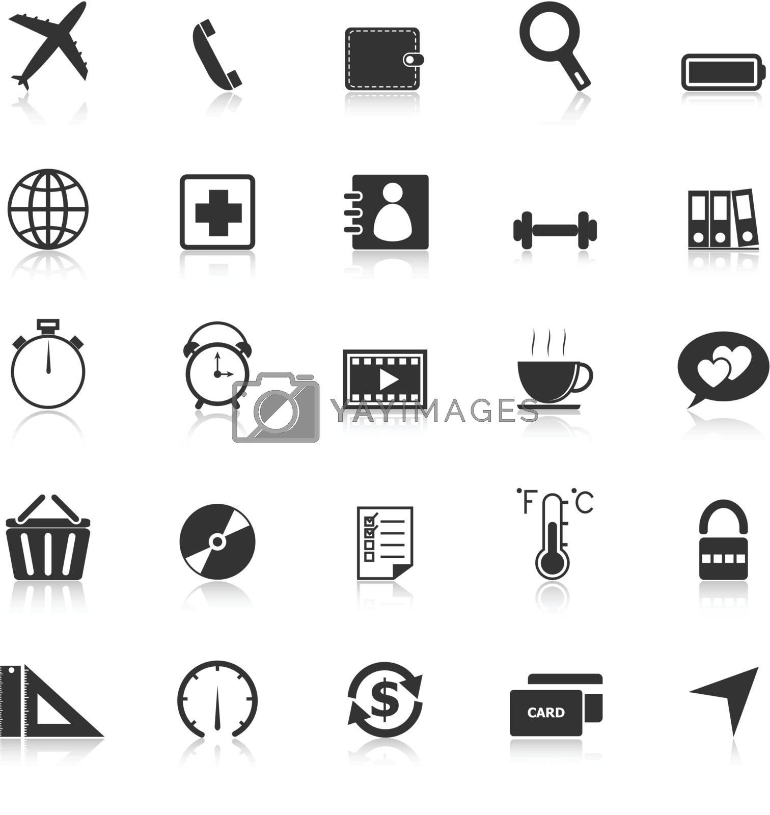 Application icons with reflect on white background. Set 2, stock vector