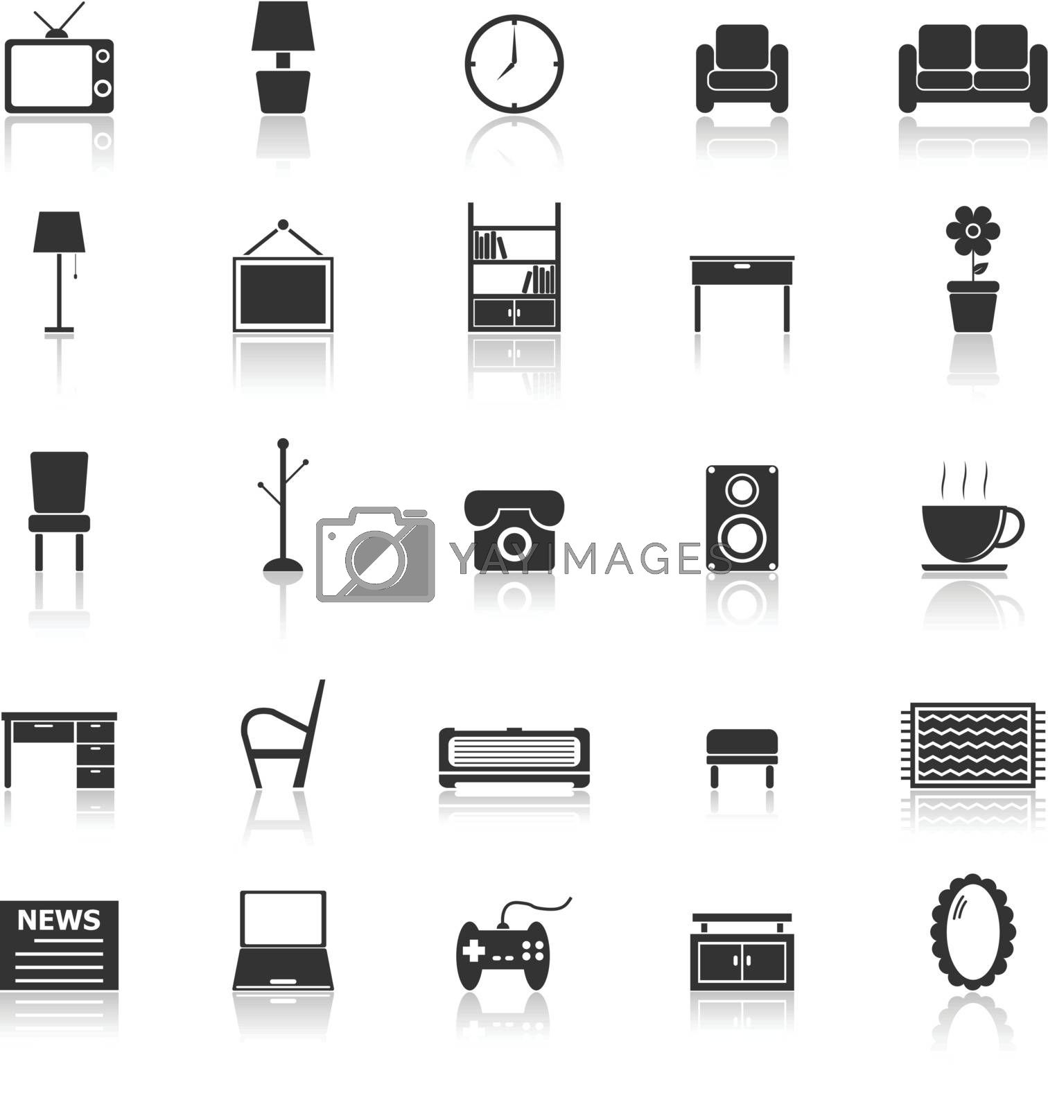 Living room icons with reflect on white background, stock vector