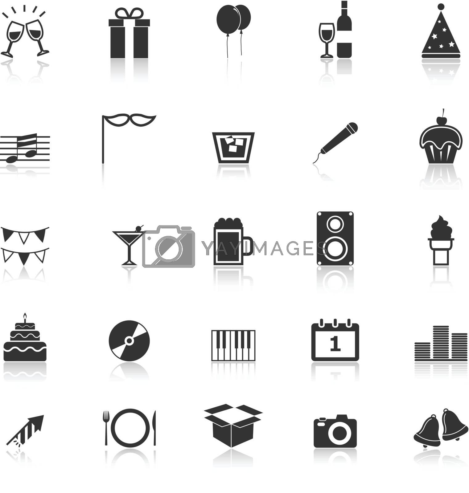 New Year icons with reflect on white background, stock vector